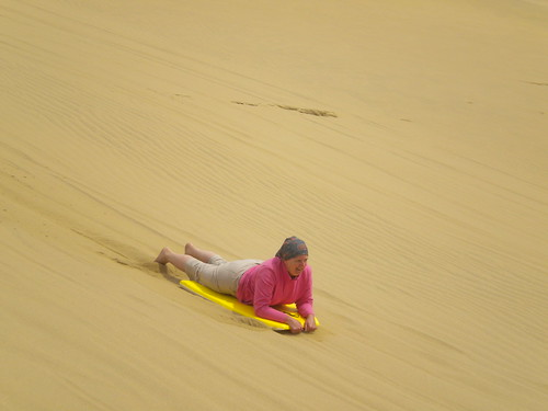 Sand boarding down Giant Sand Dunes at Ninety Mile Beach (which isn't actually 90 miles, it's 90 kilometres)