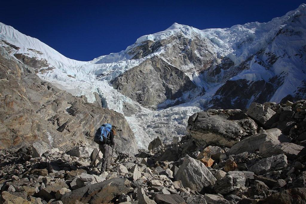 Approaching the Drolambu Icefall.