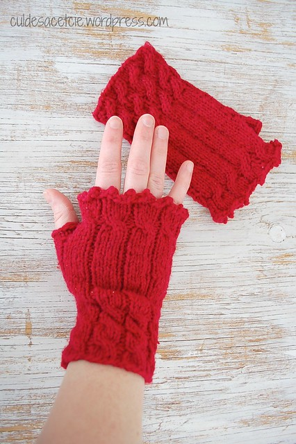 Fetching fingerless mitts from reclaimed yarn!