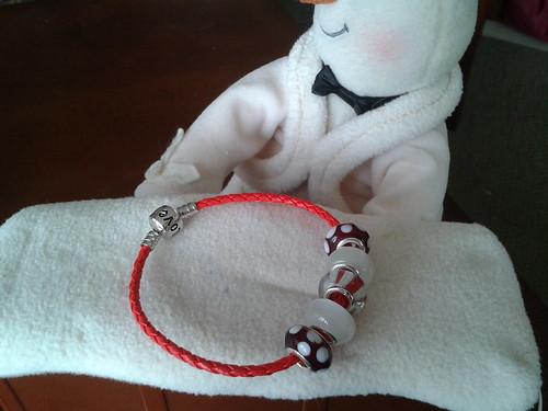 red candycane colored bracelet