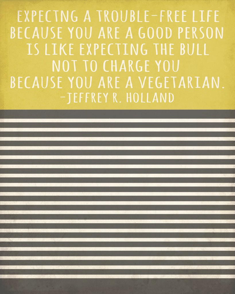 Expecting a trouble-free life because you are a good person is like expecting the bull not to charge you because you are a vegetarian. - Jeffrey R. Holland