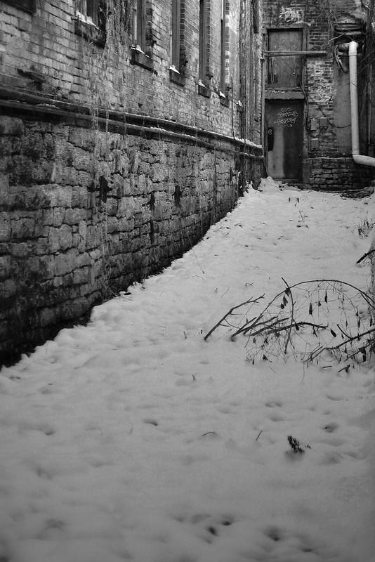 Springfield, Ohio, alley, snow