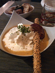 Pumpkin and chestnut soup with bacon and creme fraiche, Le P'tit Paradis