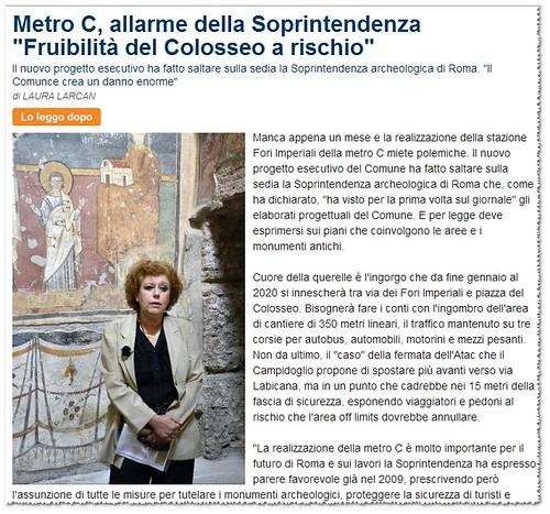 """Roma Archeologia: I Fori Imperiali - Metro C, allarme della Soprintendenza,  Mariarosaria Barbera""""Fruibilità del Colosseo a rischio,"""" LA REPUBBLICA (30/12/2012). by Martin G. Conde"""