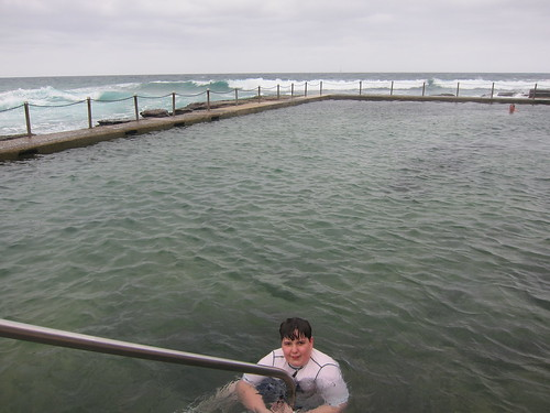 Tom in the ocean pool at Avalon
