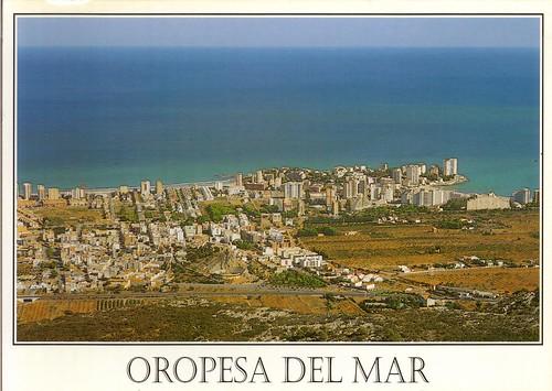 Vista aérea del pueblo de Oropesa. 1996