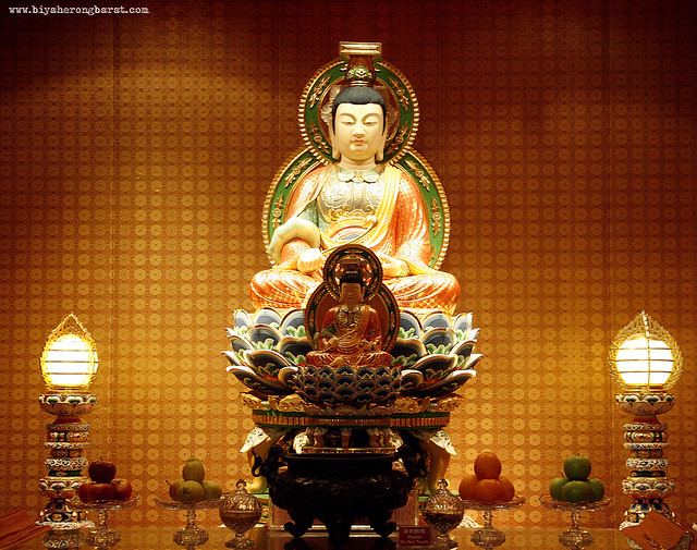 Buddha Tooth Relic Temple altar Chinatown Singapore