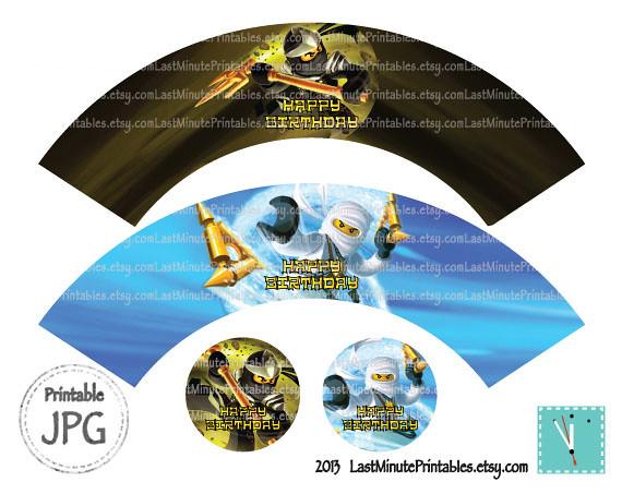 USD 2.99, Ninjago cupcake, ninjago eye, ninjago invitation, ninjago invite, ninjago cake, ninjago sticker, ninja invitation, ninjago birthday