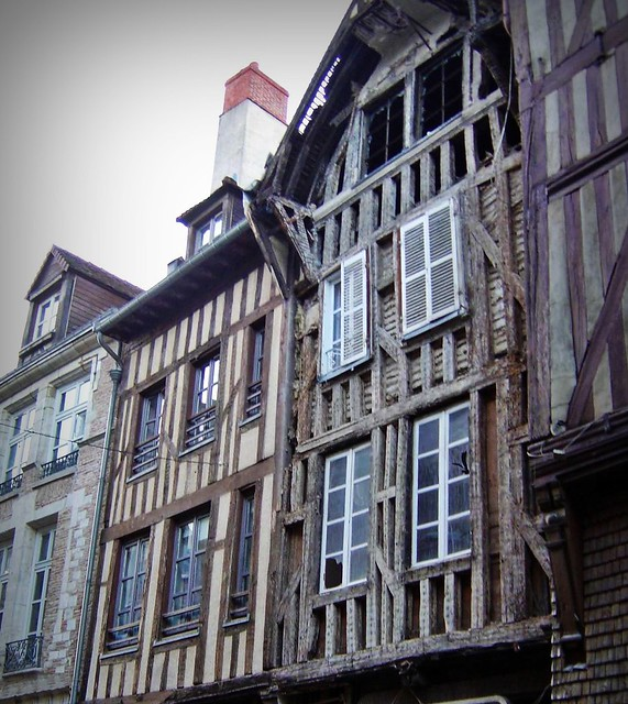 Timbered houses in medieval city of Troyes, France