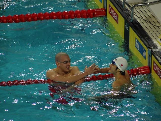 Cseh greeting Seto after the Istanbul 2012 men's 400 IM