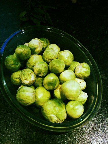 Tray of brussels sprouts