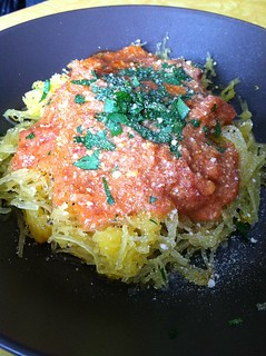 Spaghetti squash with vegan vodka cream sauce