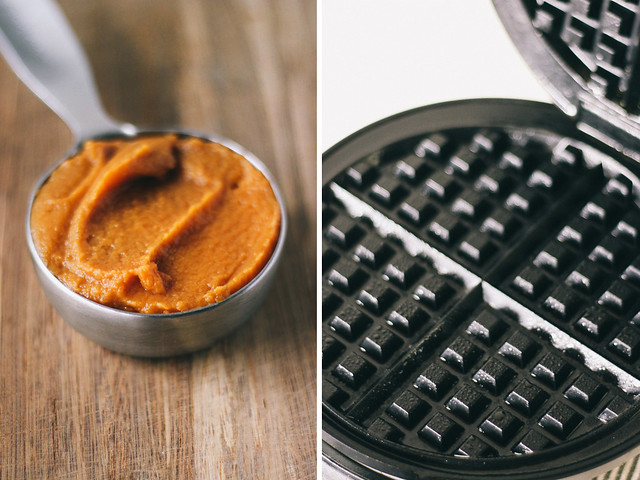 Sweet potato puree + hot waffle iron