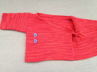 Hand-knit baby wrap sweater