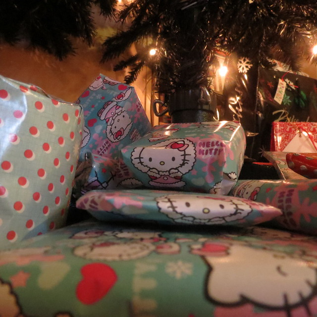 Hello Kitty Christmas presents under the tree