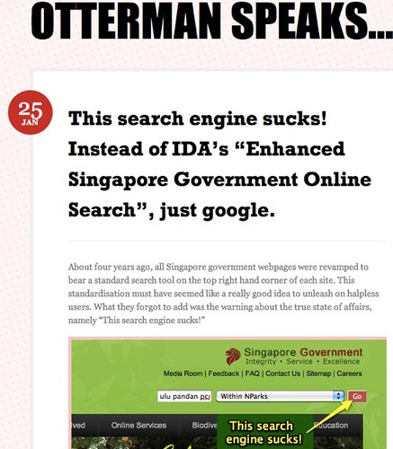 """This search engine sucks! Instead of IDA's """"Enhanced Singapore Government Online Search"""", just google. « Otterman speaks…"""