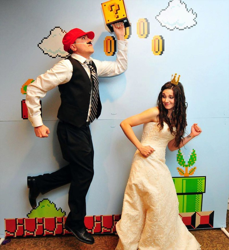 Brooke Jons Elegantly 8 Bit Mario Wedding Offbeat Bride