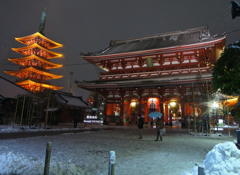 Tokyo, Asakusa snowfall