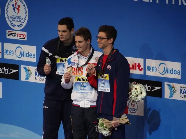 The Istanbul 2012 men's 50 free medal podium