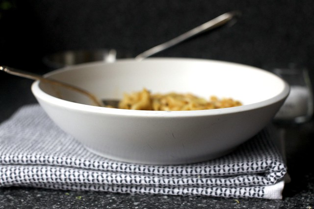 pasta and white beans with garlic-rosemary oil