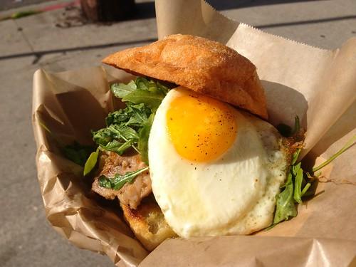 Evan Funke's porchetta sandwich