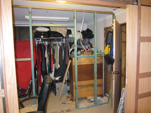 Walk-in wardrobe wall in progress