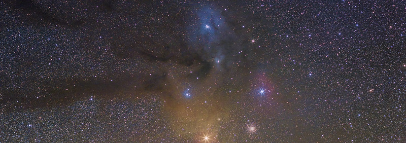 Antares and Rho Ophiuchi molecolar clouds complex (panorama two stacks in drizzle 2x)