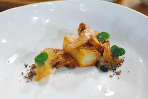 braised chanterelle black garlic and clover