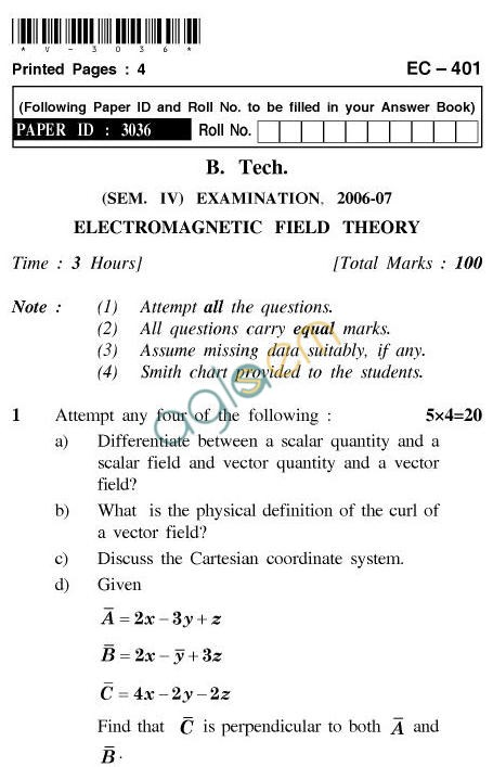 UPTU B.Tech Question Papers - EC-401-Electromagnetic Field Theory