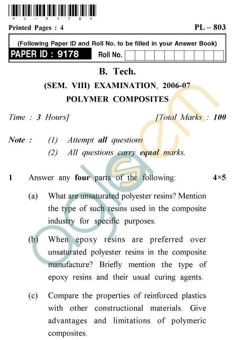 UPTU B.Tech Question Papers - PL-803 - Polymer Composites