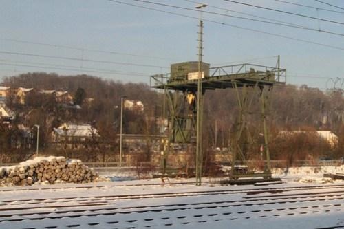 Gantry crane in the DB railway goods yards at Passau station