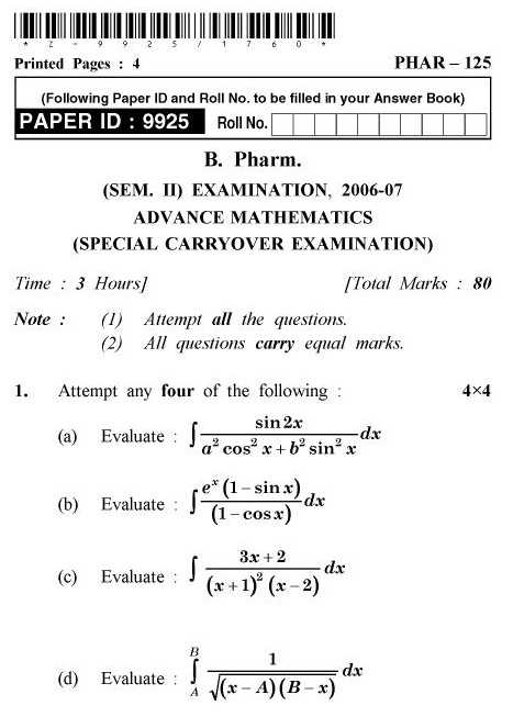 UPTU B.Pharm Question Papers PHAR-125 - Advanced Mathematics (Special Carryover Examination)