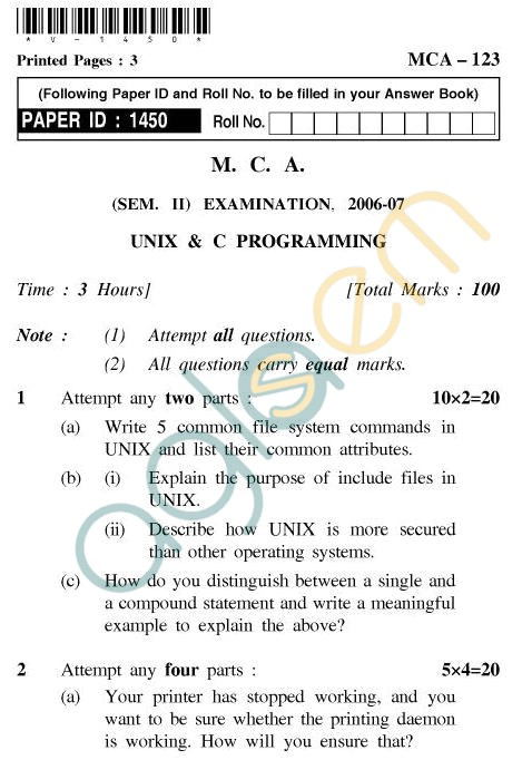 UPTU MCA Question Papers - MCA-123 - Unix & C Programming