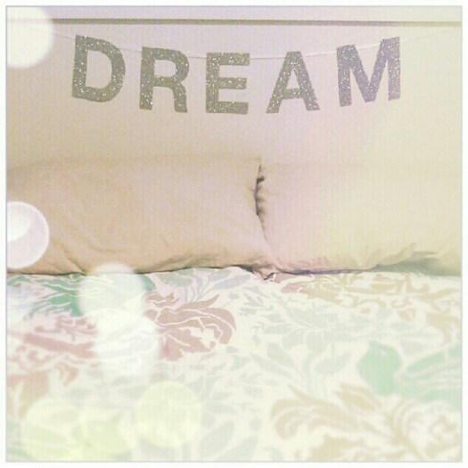 """Custom extra large silver glitter """"DREAM"""" banner on white satin ribbon."""
