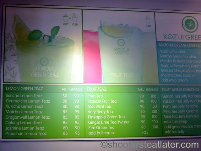 Kozui Green Tea menu-004