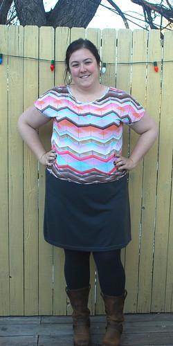 chevron shirt gray skirt front