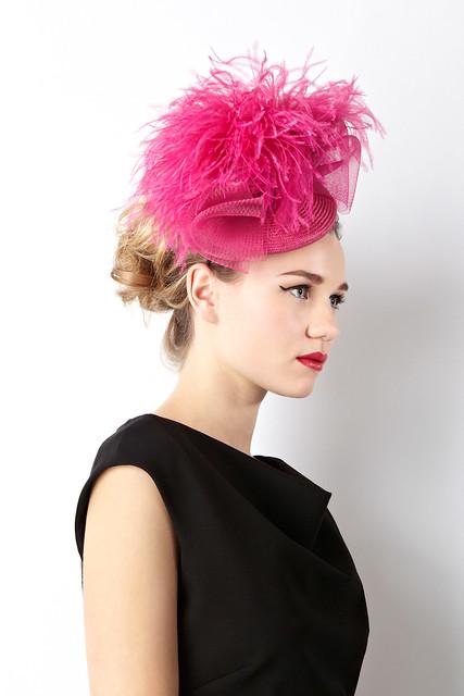 William Chambers Coast ostrich pom hat pink 150