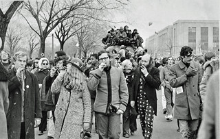 Antiwar Protestors Giving Kazoo to Nixon: Counter-Inaugural 1969