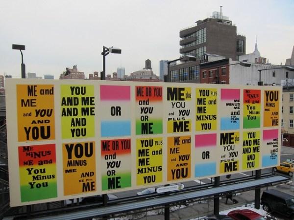 Allen Ruppersberg: You & Me, on the High Line Billboard