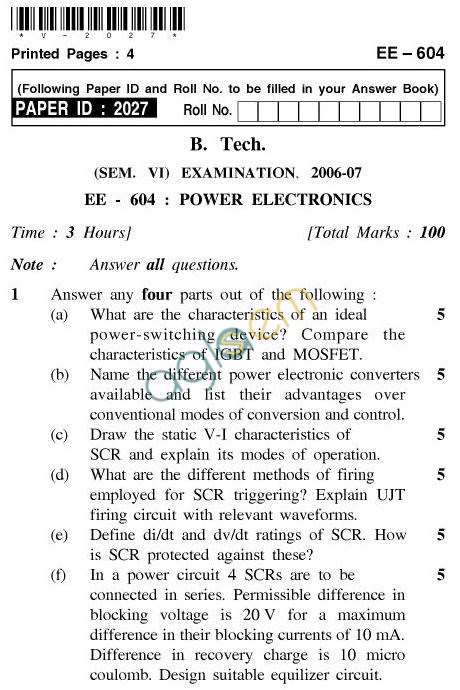UPTU B.Tech Question Papers - EE-604-Power Electronics