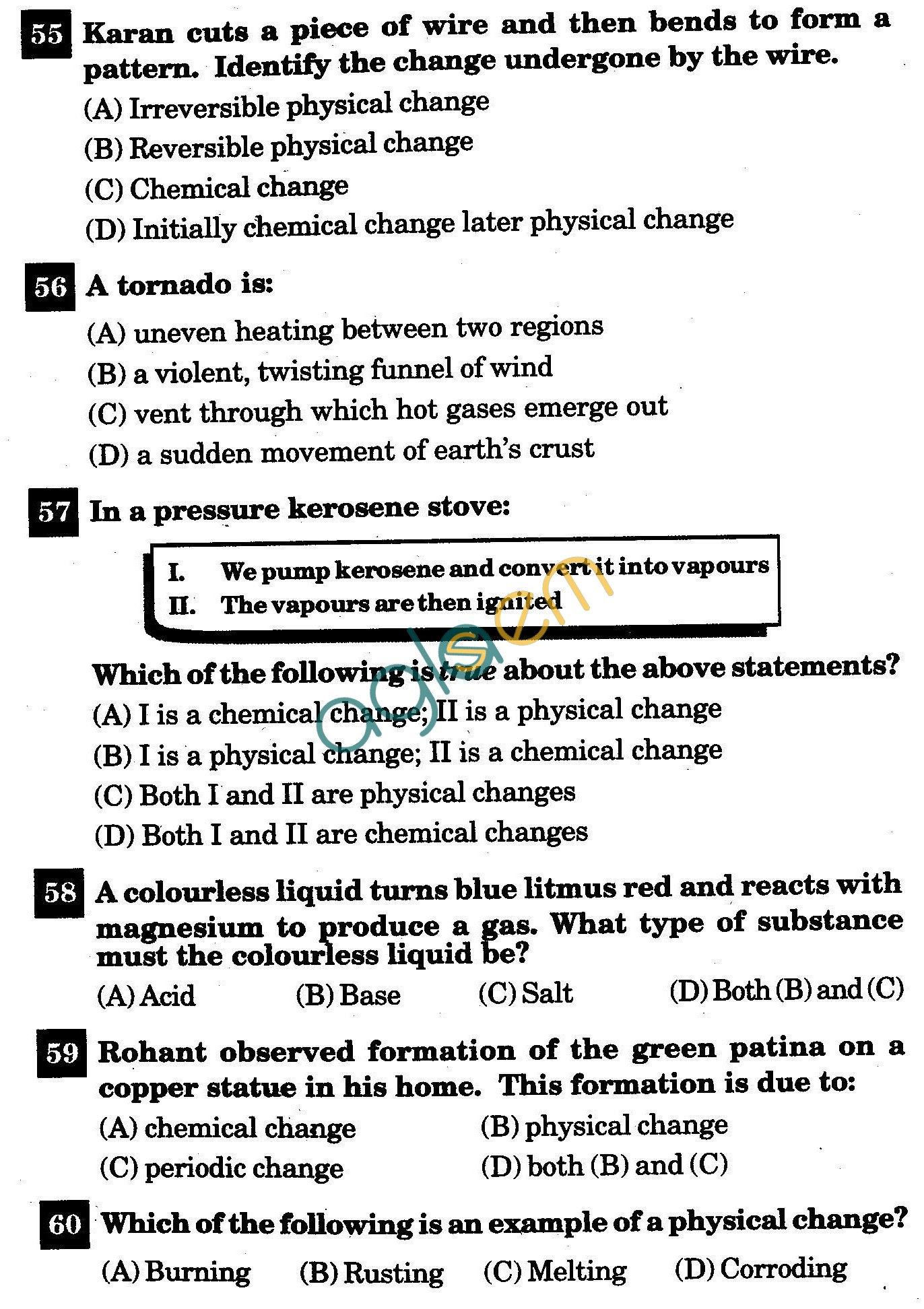 Nstse Solved Question Paper For Class Vii Chemistry