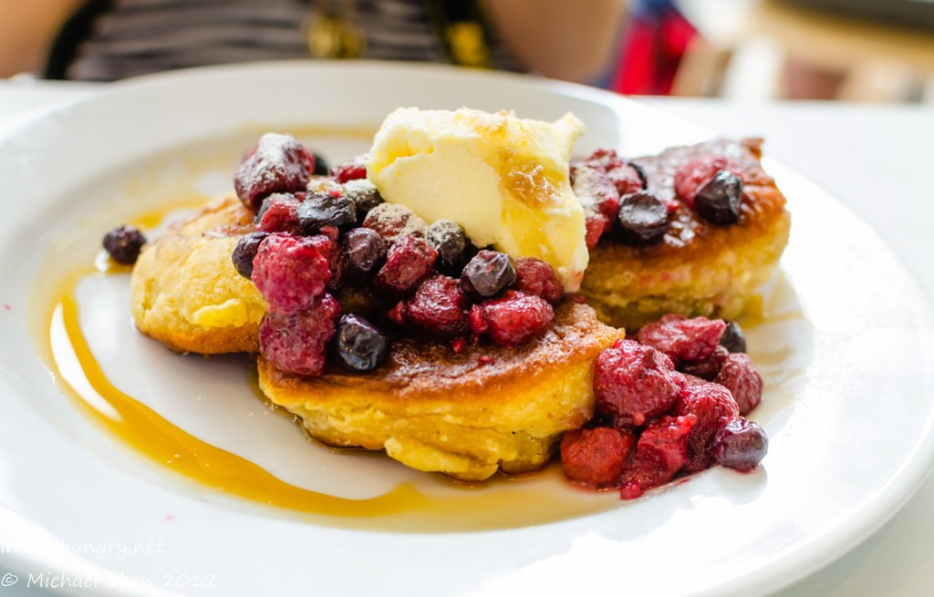 Lumiere Cafe - ricotta hot cakes with mixed berry compote, mascarpone, maple syrup & honeycomb