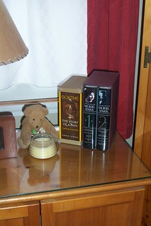 A couple of book sets sitting next to teddy bear made by Sandy from Iowa with a little bee hive candle that smells oh, so good
