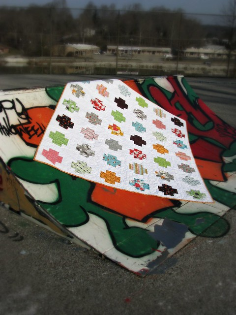 Mom's Flea Market Fancy Cross Quilt at the Skate Park