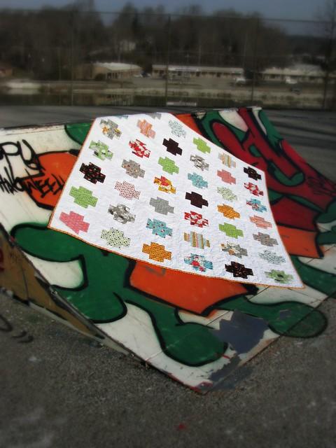 Mom's Flea Market Fancy Cross Quilt at the Skate Park
