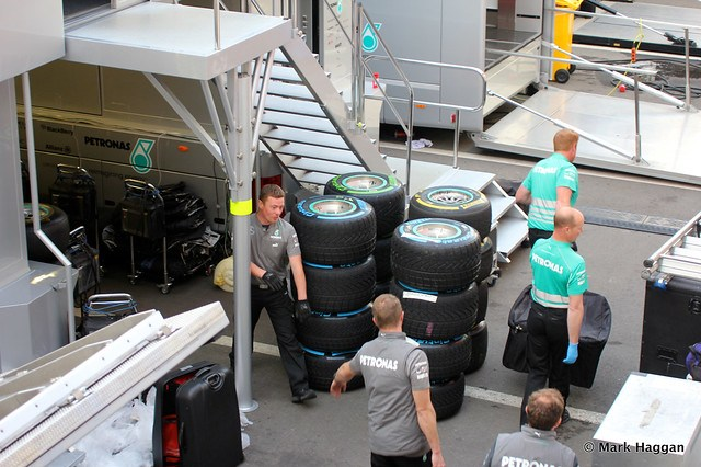 The Mercedes paddock area at Formula One Winter Testing, March 2013