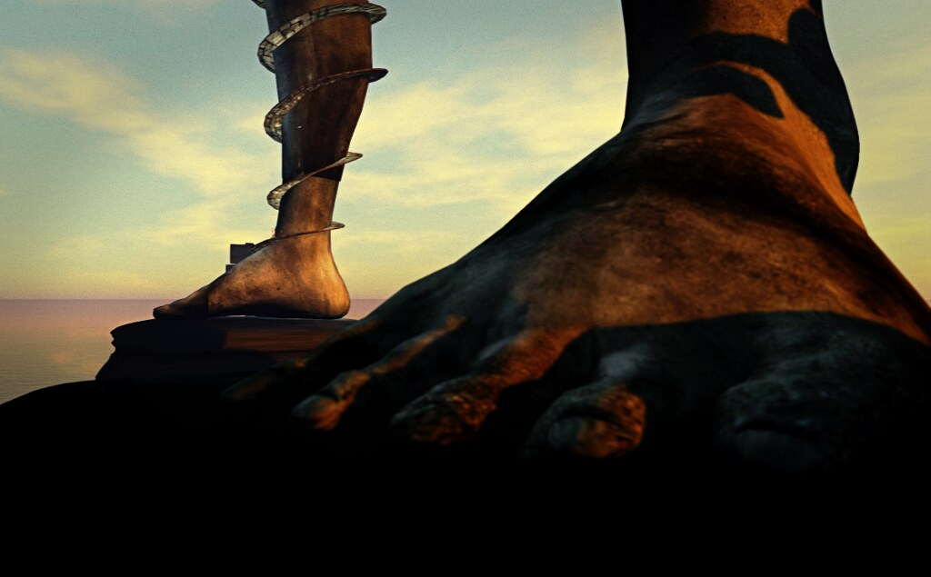 The feet of the statue, in SL
