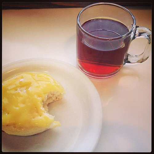 Crumpet with lemon curd and Irish breakfast tea. I could eat this every morning.