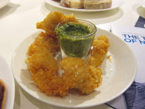 Battered Cod Cheeks with Dill, Anchovy and Pickled Cucumber Salsa