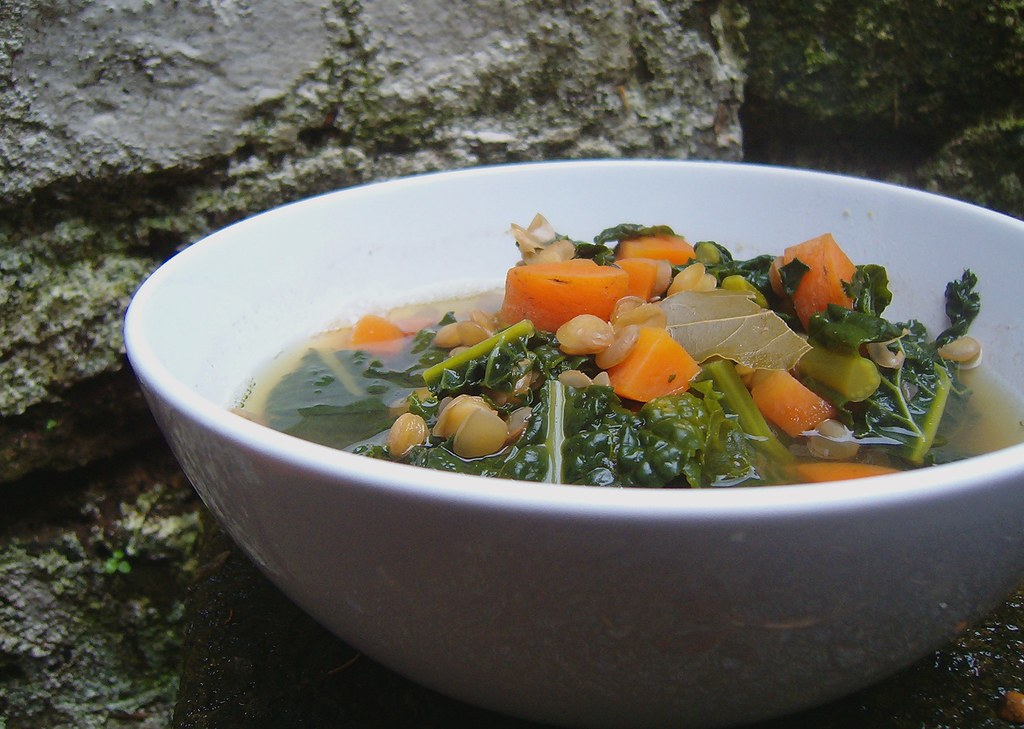 Widowed lentils soup with carrot and cavolo nero